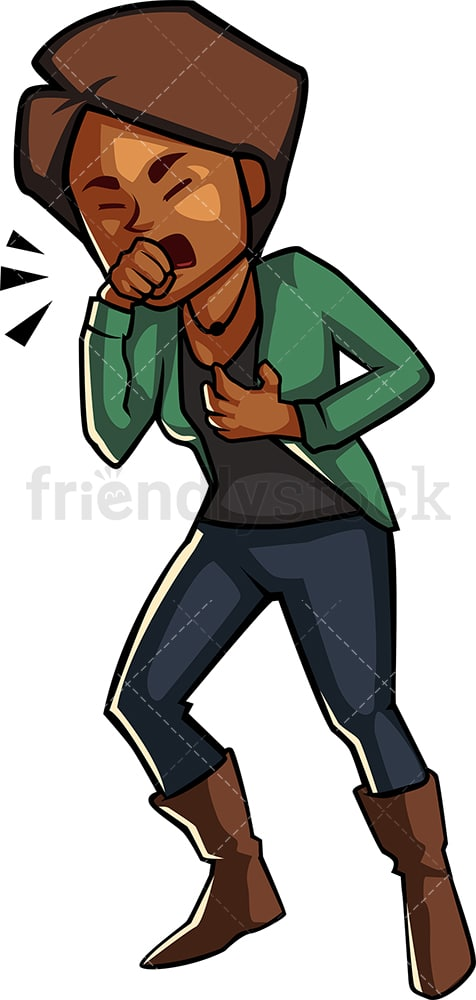 Black woman having a nasty cough. PNG - JPG and vector EPS file formats (infinitely scalable). Image isolated on transparent background.