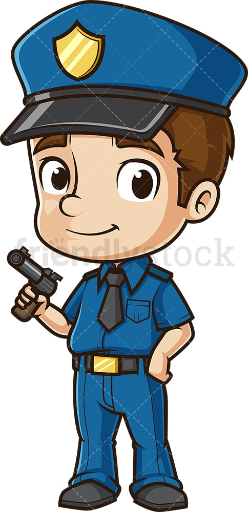Cute policeman with pistol. PNG - JPG and vector EPS (infinitely scalable).