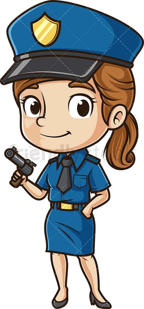 Cute policewoman with pistol. PNG - JPG and vector EPS (infinitely scalable).
