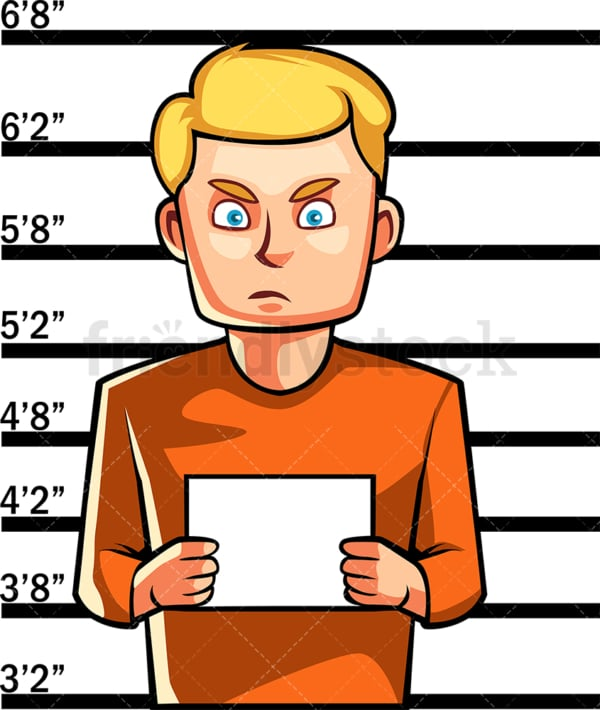 Just arrested man police mugshot. PNG - JPG and vector EPS file formats (infinitely scalable). Image isolated on transparent background.