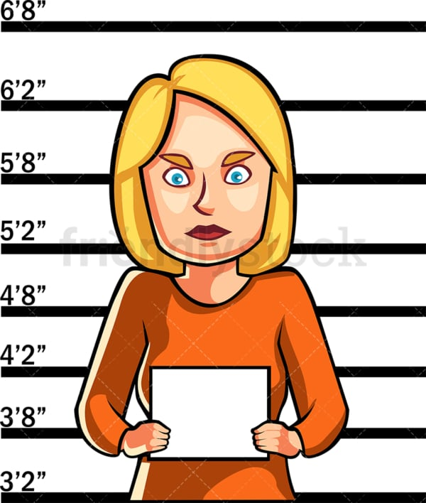 Just arrested woman police mugshot. PNG - JPG and vector EPS file formats (infinitely scalable). Image isolated on transparent background.