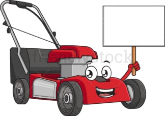 Lawn mower holding blank sign. PNG - JPG and vector EPS (infinitely scalable).