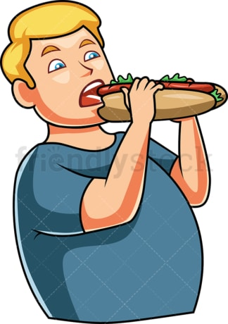 Man eating submarine-style sandwich. PNG - JPG and vector EPS file formats (infinitely scalable). Image isolated on transparent background.