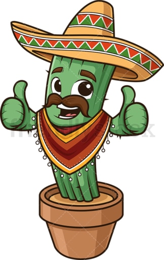 Mexican cactus with poncho. PNG - JPG and vector EPS (infinitely scalable).
