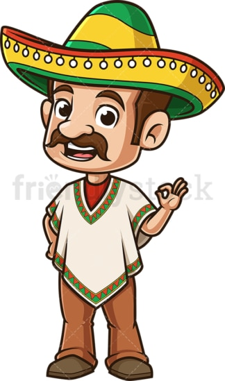 Mexican man a-ok gesture. PNG - JPG and vector EPS (infinitely scalable).