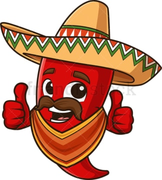 Mexican red pepper with poncho. PNG - JPG and vector EPS file formats (infinitely scalable). Image isolated on transparent background.