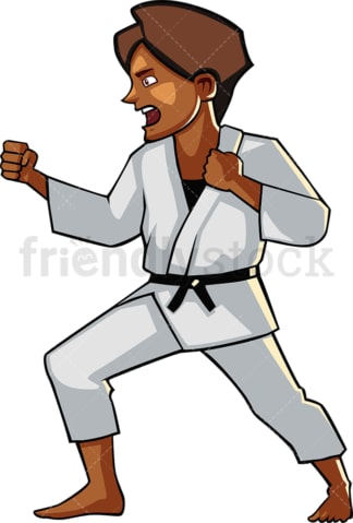 Shouting black female doing karate. PNG - JPG and vector EPS file formats (infinitely scalable). Image isolated on transparent background.