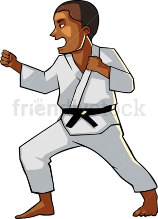 Shouting black male doing karate. PNG - JPG and vector EPS file formats (infinitely scalable). Image isolated on transparent background.