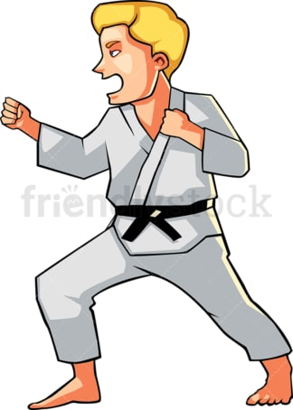 Shouting man doing karate. PNG - JPG and vector EPS file formats (infinitely scalable). Image isolated on transparent background.