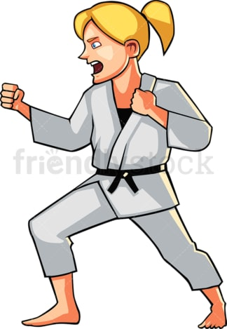 Shouting young woman doing karate. PNG - JPG and vector EPS file formats (infinitely scalable). Image isolated on transparent background.