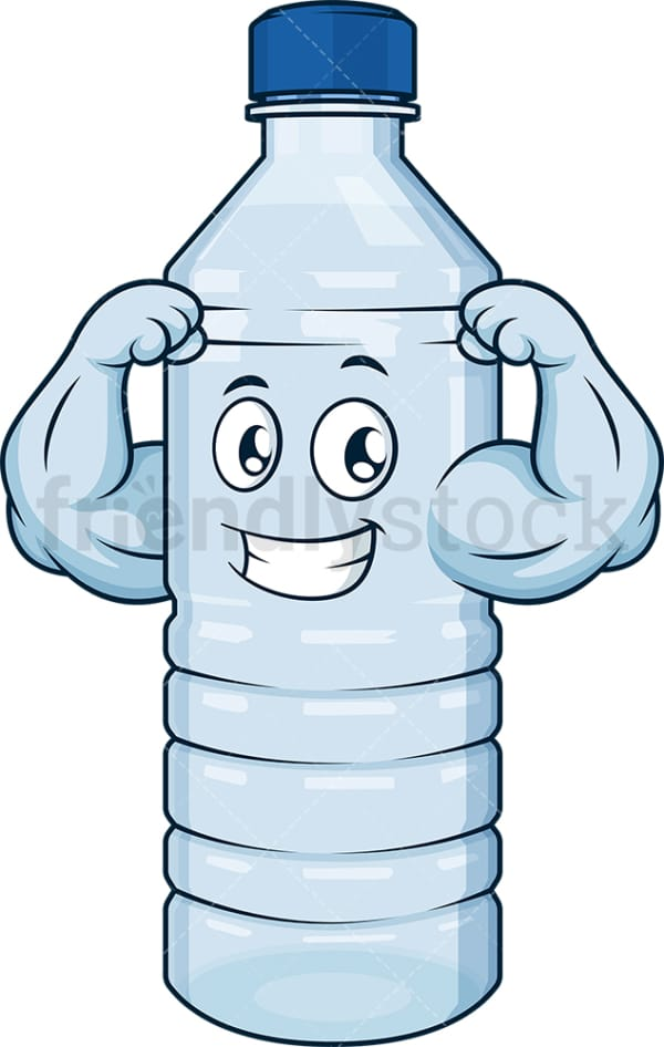 Strong water bottle flexing. PNG - JPG and vector EPS (infinitely scalable).
