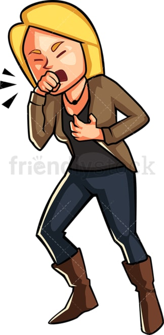 Woman having a really bad cough. PNG - JPG and vector EPS file formats (infinitely scalable). Image isolated on transparent background.