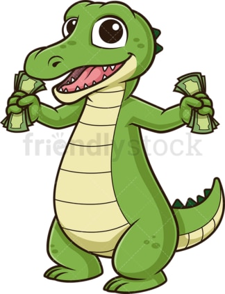 Alligator holding money. PNG - JPG and vector EPS (infinitely scalable).