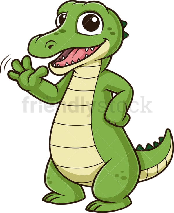 Alligator waving. PNG - JPG and vector EPS (infinitely scalable).