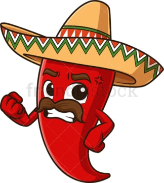 Angry mexican red pepper. PNG - JPG and vector EPS file formats (infinitely scalable). Image isolated on transparent background.