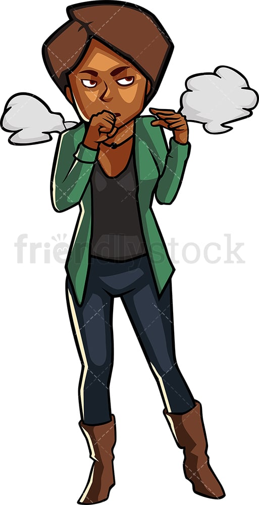Black female passive smoking and coughing. PNG - JPG and vector EPS file formats (infinitely scalable). Image isolated on transparent background.