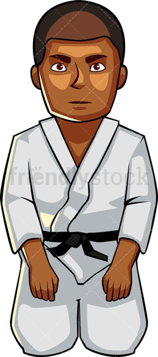Black male holding seated karate pose. PNG - JPG and vector EPS file formats (infinitely scalable). Image isolated on transparent background.