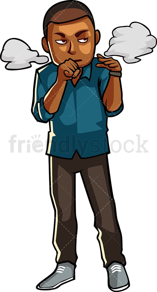 Black man annoyed from puffs of smoke. PNG - JPG and vector EPS file formats (infinitely scalable). Image isolated on transparent background.