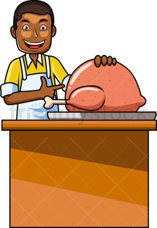 Black man preparing turkey for the oven. PNG - JPG and vector EPS file formats (infinitely scalable). Image isolated on transparent background.