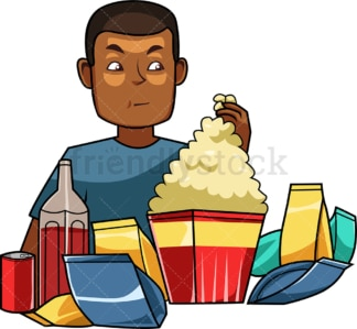 Black man surrounded by snacks and sodas. PNG - JPG and vector EPS file formats (infinitely scalable). Image isolated on transparent background.