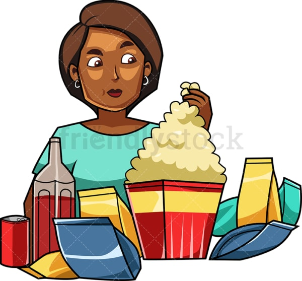 Black woman around lots of food. PNG - JPG and vector EPS file formats (infinitely scalable). Image isolated on transparent background.