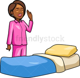 Black woman going to sleep. PNG - JPG and vector EPS file formats (infinitely scalable). Image isolated on transparent background.