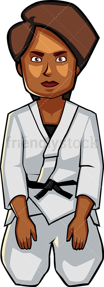 Black woman holding seated karate pose. PNG - JPG and vector EPS file formats (infinitely scalable). Image isolated on transparent background.