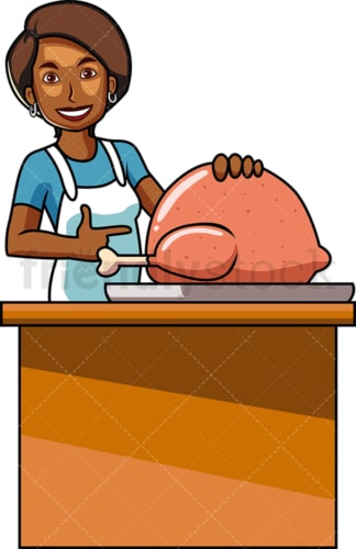 Black woman making turkey for thanksgiving. PNG - JPG and vector EPS file formats (infinitely scalable). Image isolated on transparent background.