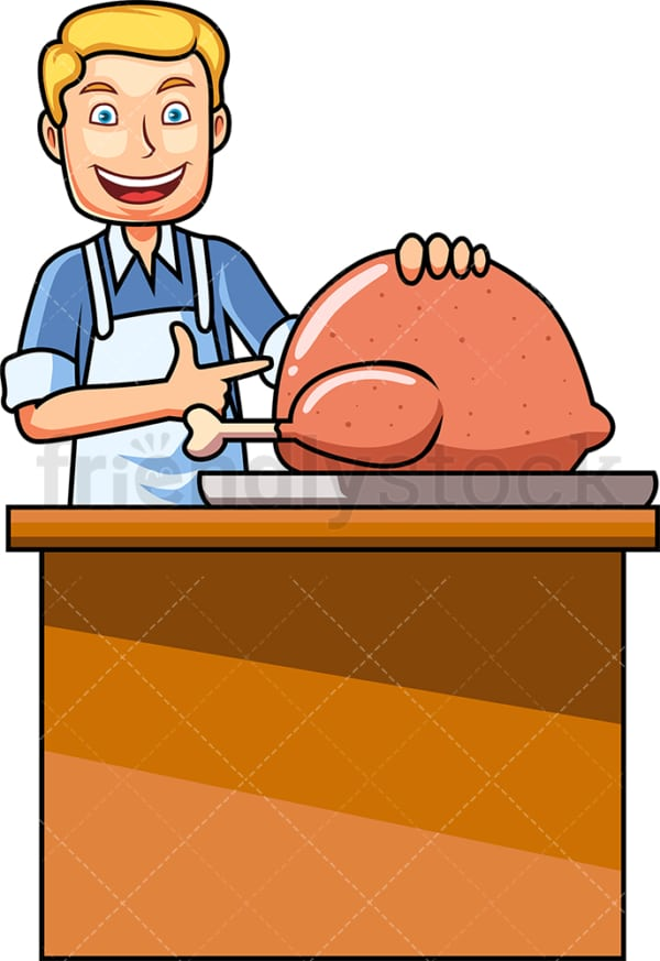 Caucasian man cooking turkey. PNG - JPG and vector EPS file formats (infinitely scalable). Image isolated on transparent background.