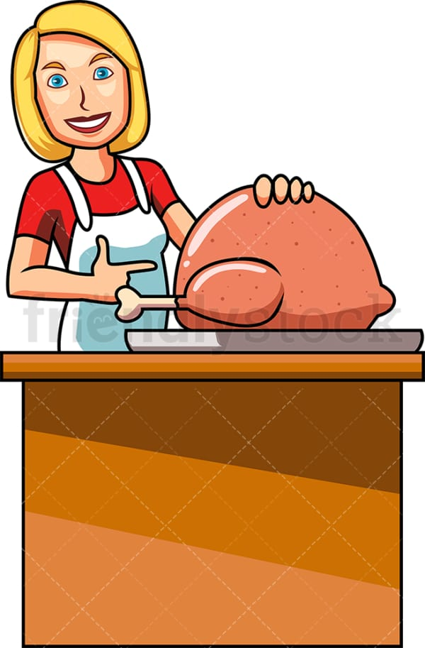 Caucasian woman cooking turkey. PNG - JPG and vector EPS file formats (infinitely scalable). Image isolated on transparent background.