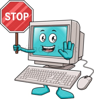 Computer holding stop sign. PNG - JPG and vector EPS (infinitely scalable).