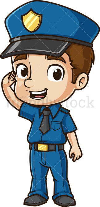 Cute policeman saluting. PNG - JPG and vector EPS (infinitely scalable).