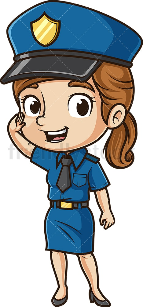 Cute policewoman saluting. PNG - JPG and vector EPS (infinitely scalable).
