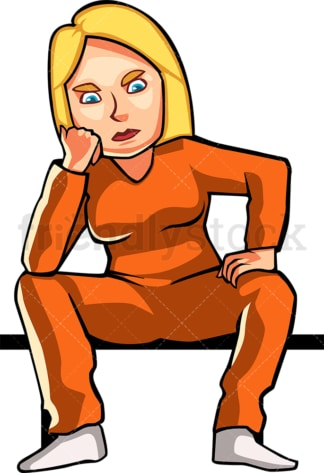 Frustrated female inmate. PNG - JPG and vector EPS file formats (infinitely scalable). Image isolated on transparent background.