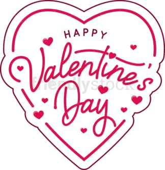 Happy valentine's day badge. PNG - JPG and vector EPS file formats (infinitely scalable). Image isolated on transparent background.