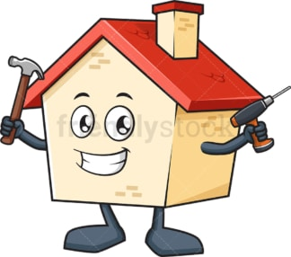 House mascot holding tools. PNG - JPG and vector EPS (infinitely scalable).