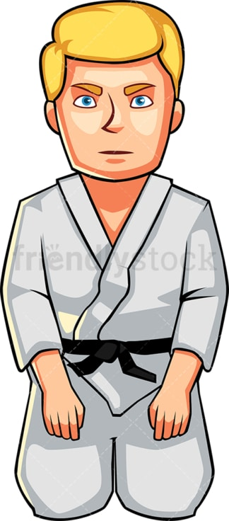 Karate man sitting down. PNG - JPG and vector EPS file formats (infinitely scalable). Image isolated on transparent background.