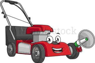 Lawn mower holding megaphone. PNG - JPG and vector EPS (infinitely scalable).