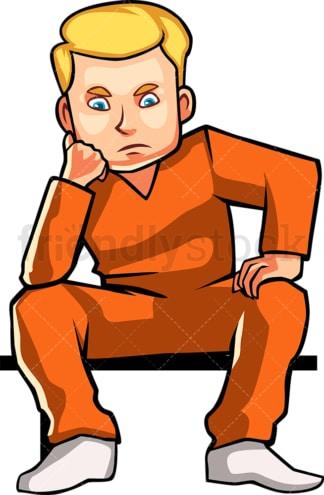 Frustrated inmate thinking. PNG - JPG and vector EPS file formats (infinitely scalable). Image isolated on transparent background.
