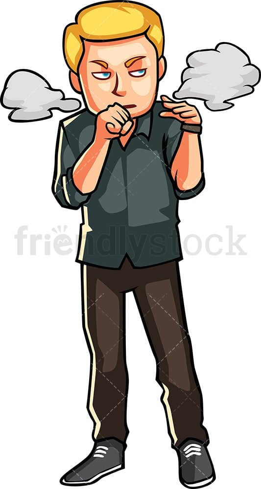 Man coughing because of cigarette smoke. PNG - JPG and vector EPS file formats (infinitely scalable). Image isolated on transparent background.