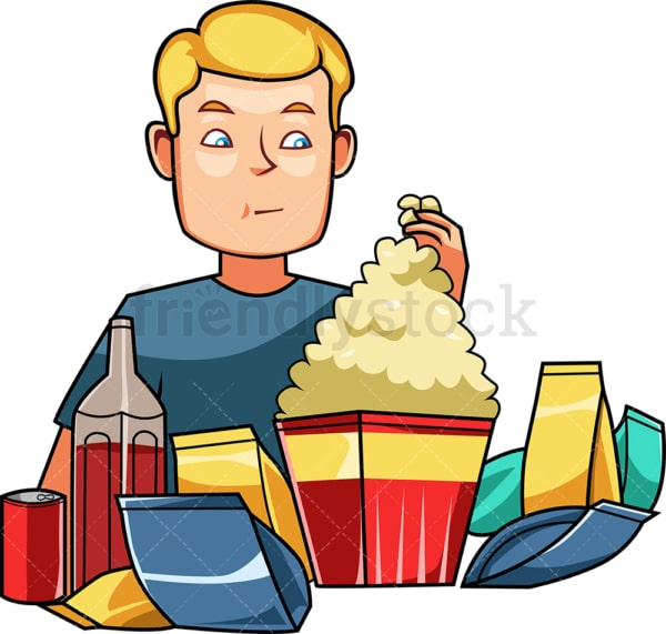 Man surrounded by snacks and sodas. PNG - JPG and vector EPS file formats (infinitely scalable). Image isolated on transparent background.