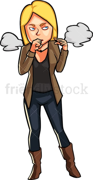 Woman coughing due to inhaling smoke. PNG - JPG and vector EPS file formats (infinitely scalable). Image isolated on transparent background.