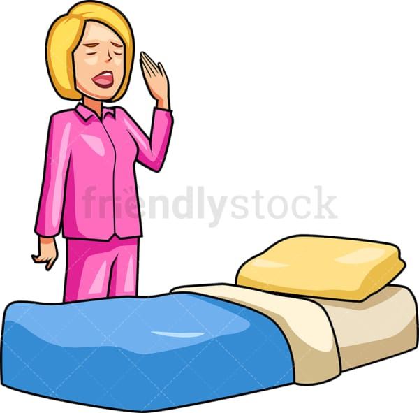 Woman in pajamas getting into bed. PNG - JPG and vector EPS file formats (infinitely scalable). Image isolated on transparent background.