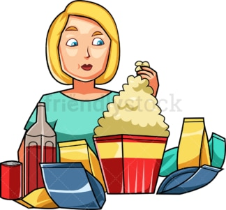 Woman surrounded by snacks and sodas. PNG - JPG and vector EPS file formats (infinitely scalable). Image isolated on transparent background.
