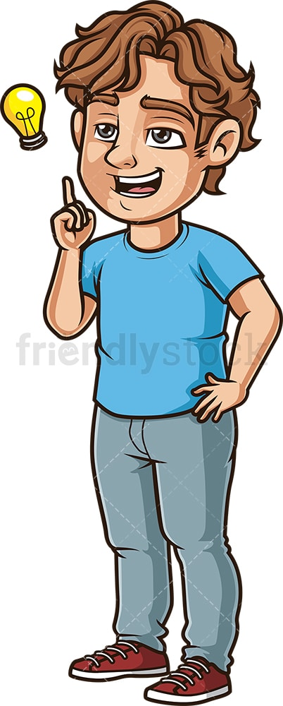 Young man thinking of an idea. PNG - JPG and vector EPS (infinitely scalable).