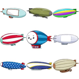 Cartoon blimps and airships. PNG - JPG and infinitely scalable vector EPS - on white or transparent background.