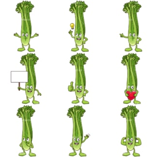 Cartoon celery mascot. PNG - JPG and infinitely scalable vector EPS - on white or transparent background.