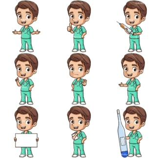 Cartoon male nurse. PNG - JPG and infinitely scalable vector EPS - on white or transparent background.