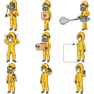 Cartoon man in hazmat suit. PNG - JPG and infinitely scalable vector EPS - on white or transparent background.