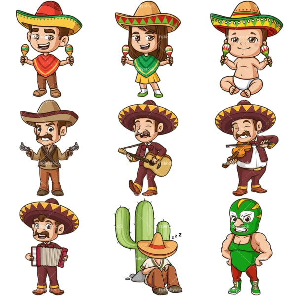 Cartoon mexican characters. PNG - JPG and infinitely scalable vector EPS - on white or transparent background.
